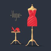 Fashion vector illustration with little red dress, high heels shoe