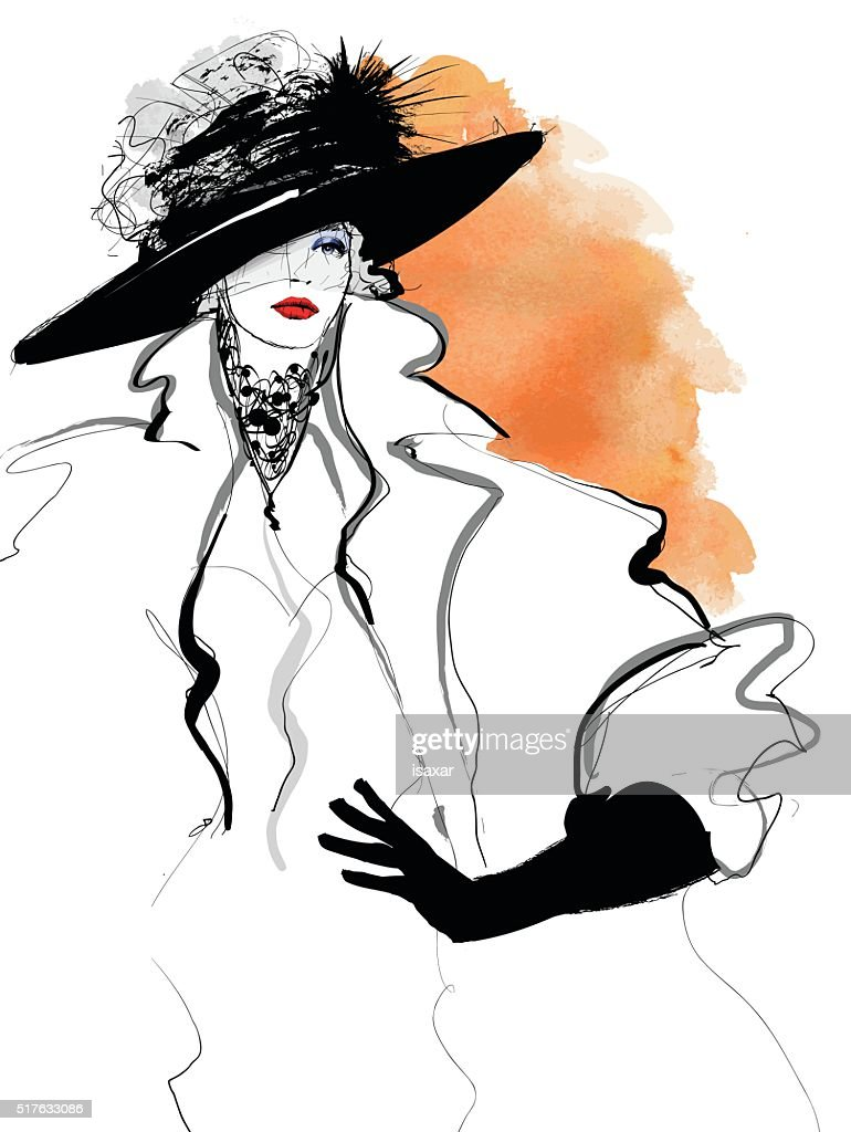 Fashion woman model with a black hat