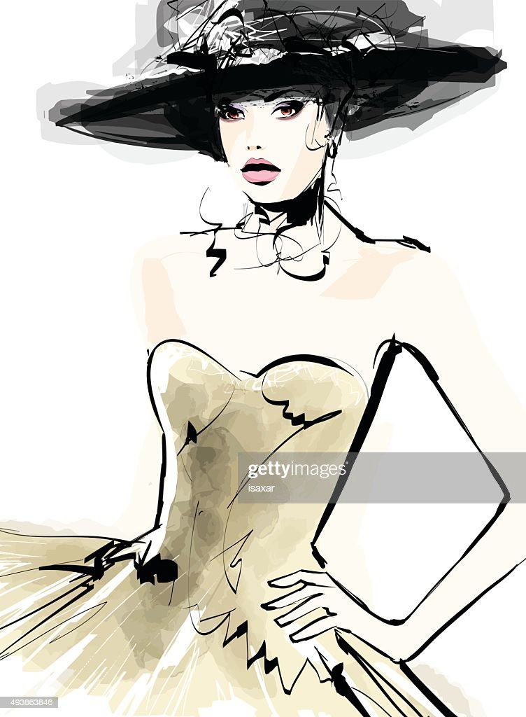 Fashion woman model with a hat