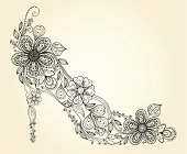 Fashion woman shoe made of painted flowers