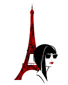 fashion woman with eiffel tower vector design
