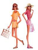 Fashion women in summer dress ready for the beach