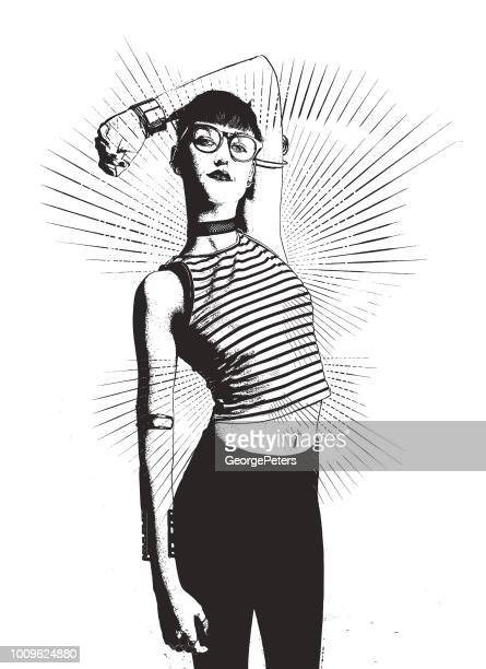 fashionable confident hipster woman - politics and government stock illustrations, clip art, cartoons, & icons