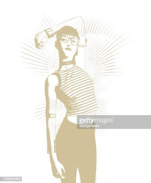 fashionable confident hipster woman - desaturated stock illustrations, clip art, cartoons, & icons