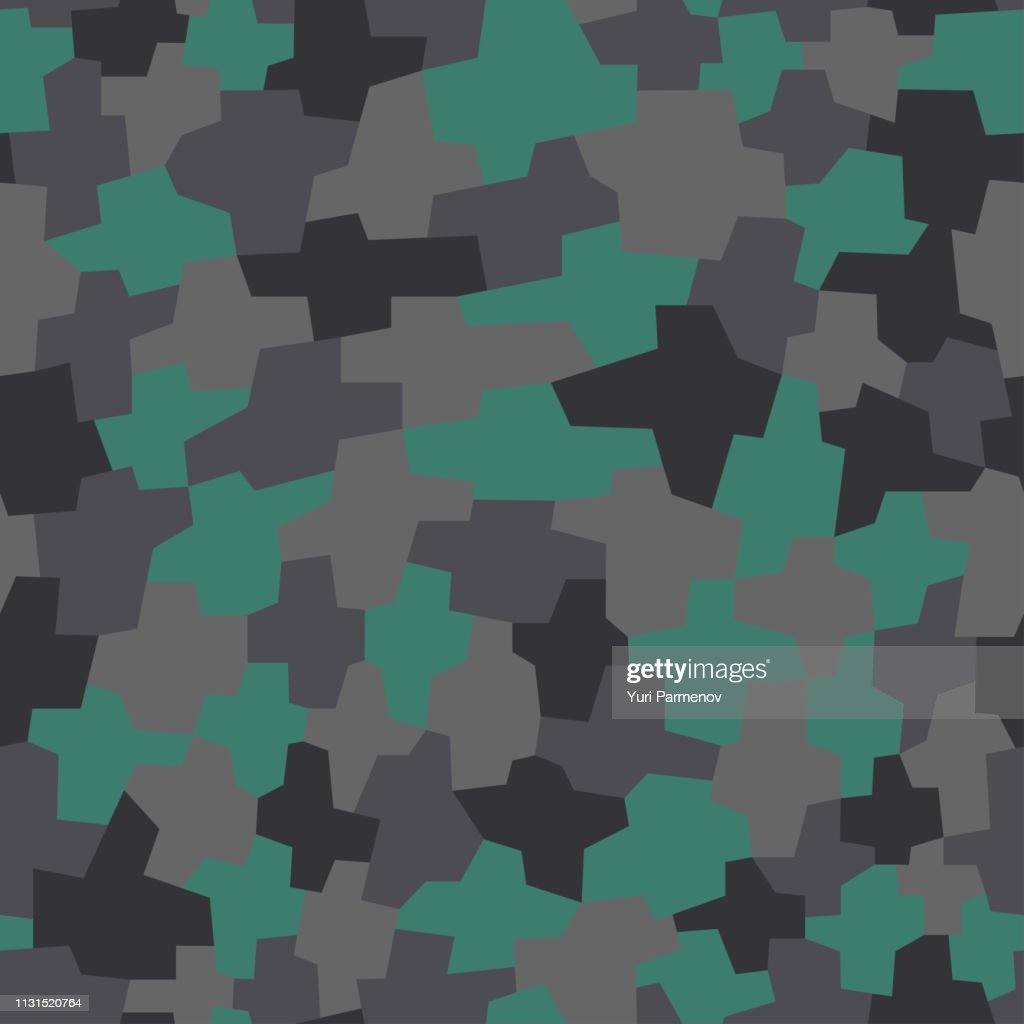 Fashionable geometric camouflage pattern. Urban camo texture, military print. Seamless vector background.