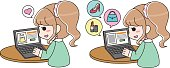 Fashionable girl online shopping