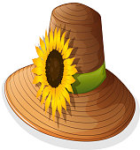 Fashionable hat with a sunflower
