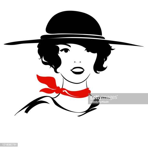ファッショナブルなイラスト - 女の子の肖像画 - ネッカチーフ点のイラスト素材/クリップアート素材/マンガ素材/アイコン素材
