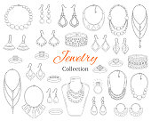 Fashionable jewelry collection, vector hand drawn doodle illustration