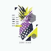 Fashionable modern poster with pineapple, summer party