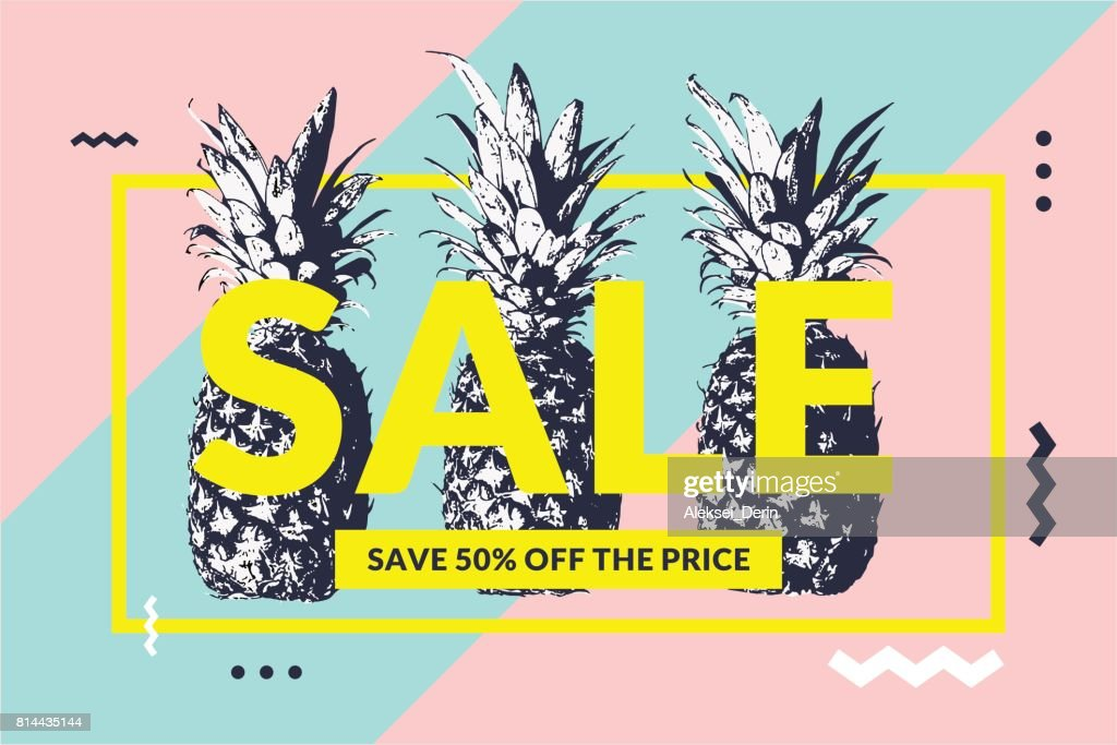 Fashionable modern poster with pineapple, Summer sale. Original retro style banner for discount