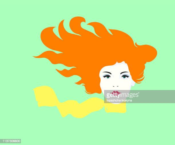 Fashionable spring illustration vector modern art work my original horizontal drawing young joyful bright happy girl with long red hair flying in the wind and wearing a yellow bright scarf around her neck
