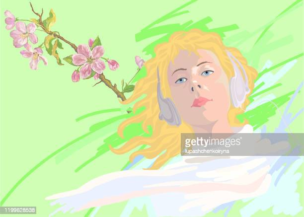 fashionable vector illustration allegory of spring horizontal portrait of a blond girl with long hair in white clothes in headphones on a background of blossoming apple trees bright spring - one teenage girl only stock illustrations