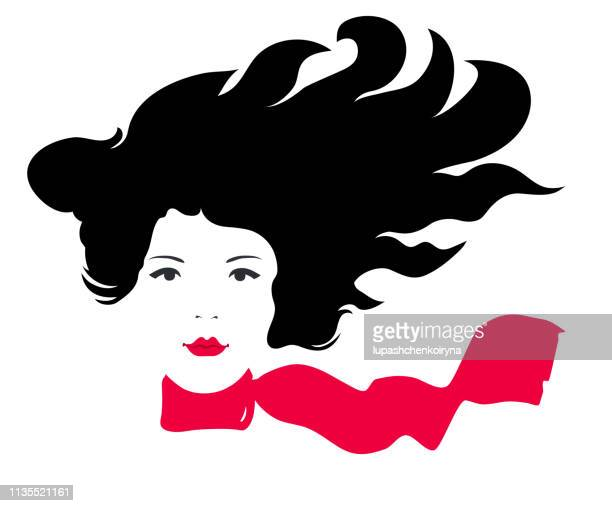 Fashionable vector spring illustration modern art work my original horizontal work vector beautiful young free modern happy relaxed girl with long black hair flying in the wind with a red scarf around her neck