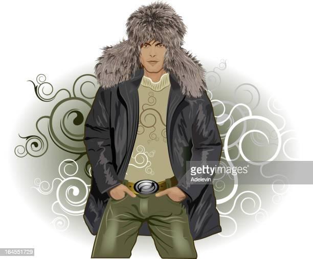 fashionable winter man - jacket stock illustrations