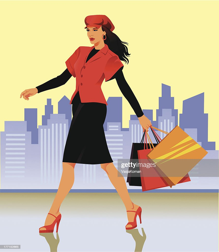 Fashionable Woman Walking With Shopping Bags : stock illustration