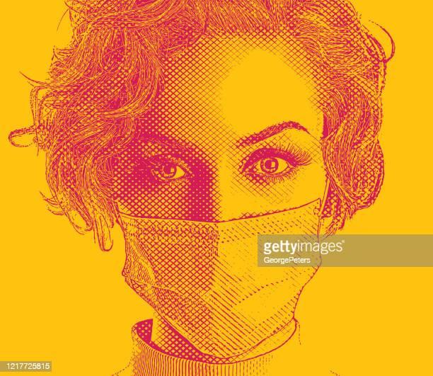 ilustrações, clipart, desenhos animados e ícones de mulher elegante usando máscara cirúrgica - female surgeon mask