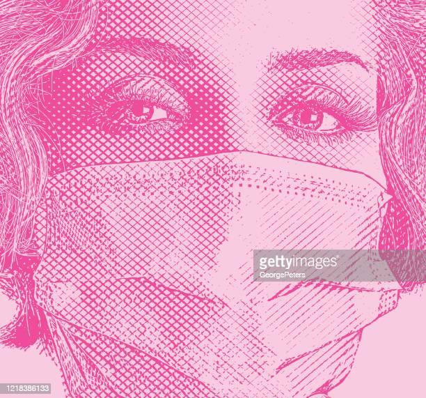 外科用マスクを着用したファッショナブルな女性 - woman wearing protective face mask点のイラスト素材/クリップアート素材/マンガ素材/アイコン素材