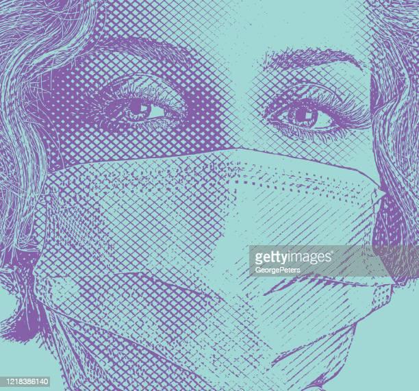 外科用マスクを着用したファッショナブルな女性 - サージカルマスク点のイラスト素材/クリップアート素材/マンガ素材/アイコン素材
