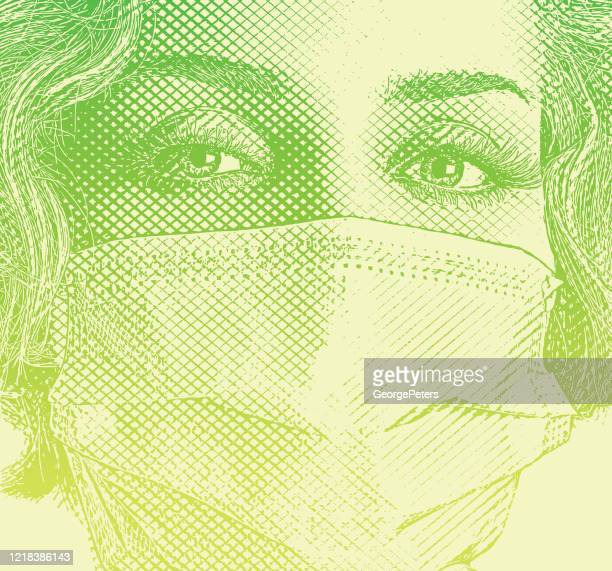 fashionable woman wearing surgical mask - woman wearing protective face mask stock illustrations