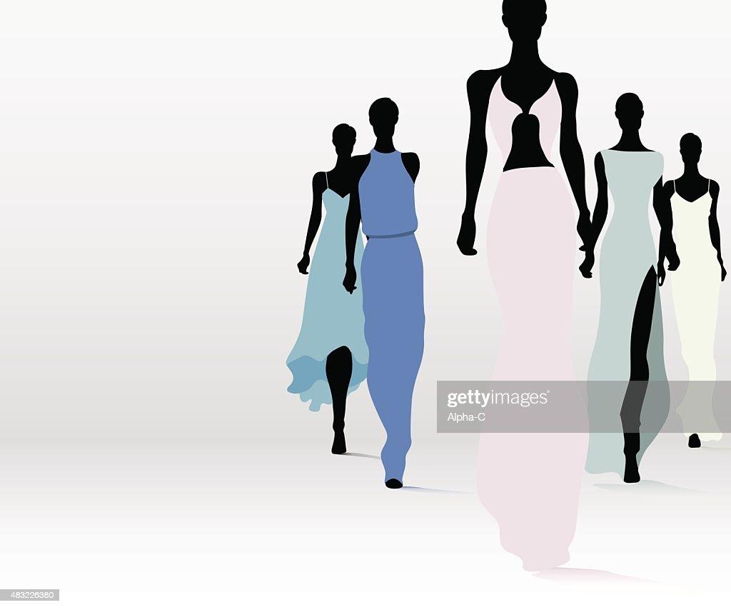 Fashionable women on runway