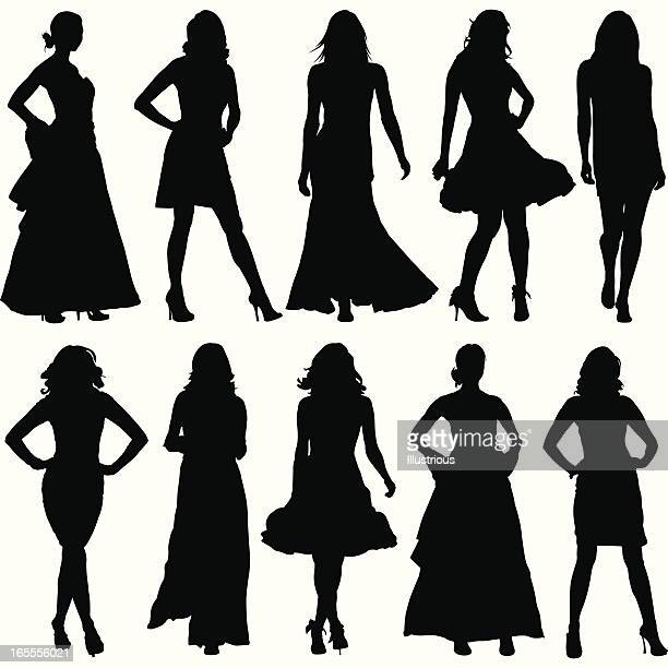 fashionable women silhouette set - model stock illustrations