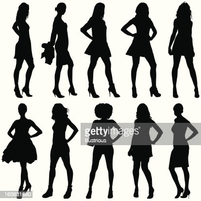Fashionable Women Silhouettes Vector Art Getty Images