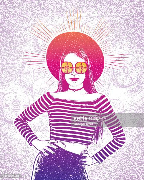 fashionable young woman and adderall pills - methamphetamine stock illustrations, clip art, cartoons, & icons