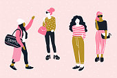 Fashionable young women in casual style.  Vector hand drawn stylish set with pretty girls. Trendy bright design.