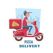 Fast and free delivery of pizza on the scooter.