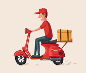 Fast and free delivery. Vector cartoon illustration. Food service. Retro scooter.