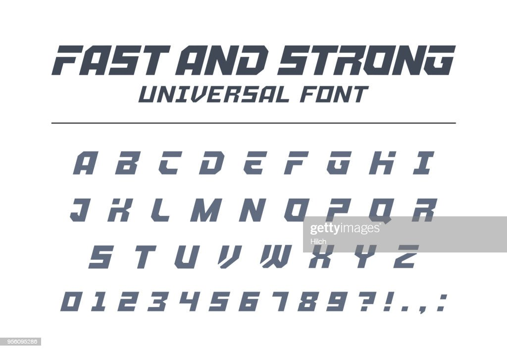 Fast and strong, high speed universal font. Sport, futuristic, technology, future alphabet.