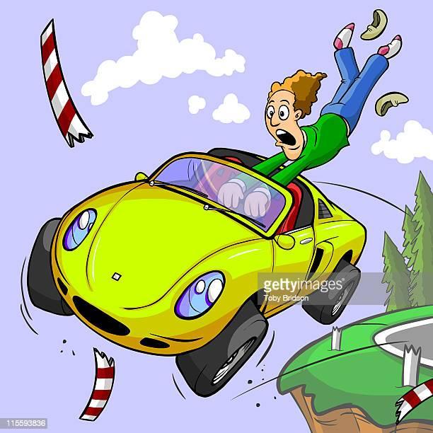 ilustraciones, imágenes clip art, dibujos animados e iconos de stock de fast car - car crash