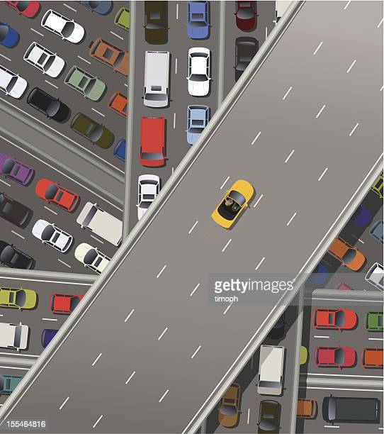 fast car - overpass road stock illustrations