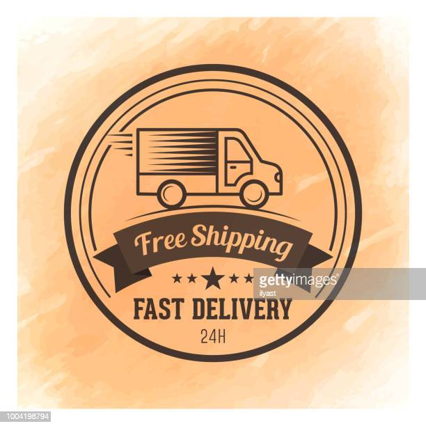 Fast Delivery Badge Watercolor Background