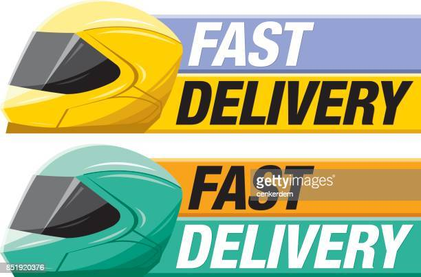 fast delivery banner - motorcycle helmet stock illustrations, clip art, cartoons, & icons
