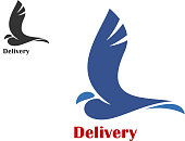 Fast delivery symbol with flying bird