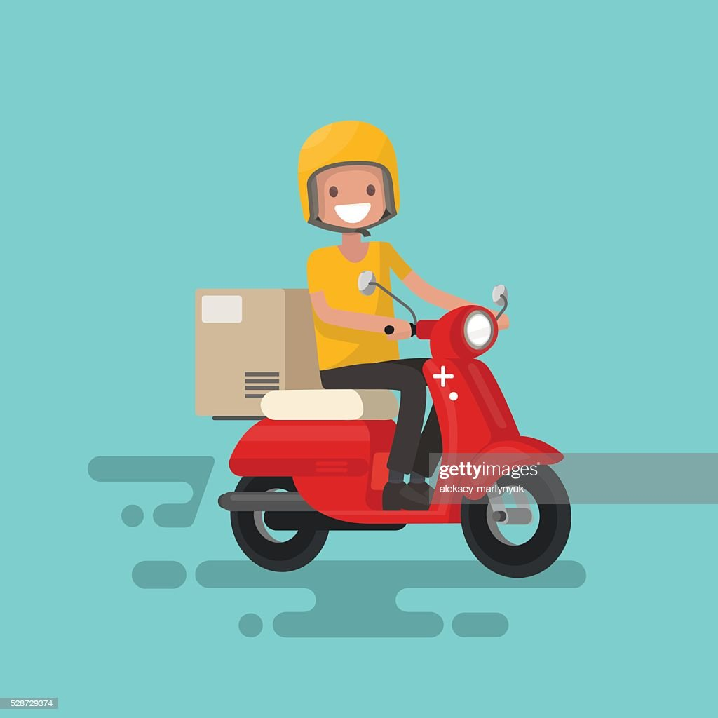 Fast delivery. The guy on the bike in a hurry