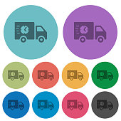Fast delivery truck color darker flat icons