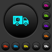 Fast delivery truck dark push buttons with color icons