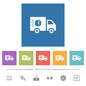 Fast delivery truck flat white icons in square backgrounds