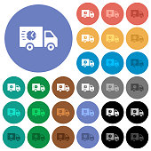 Fast delivery truck round flat multi colored icons