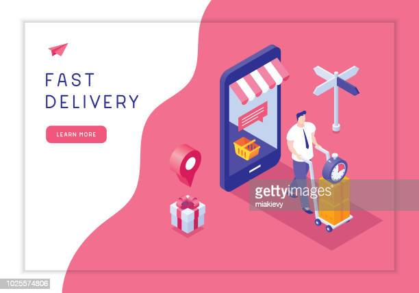 fast delivery - retail employee stock illustrations