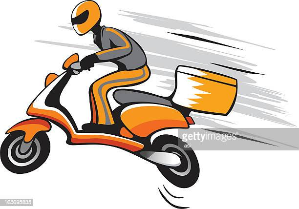 ilustrações, clipart, desenhos animados e ícones de entrega rápida - entregador