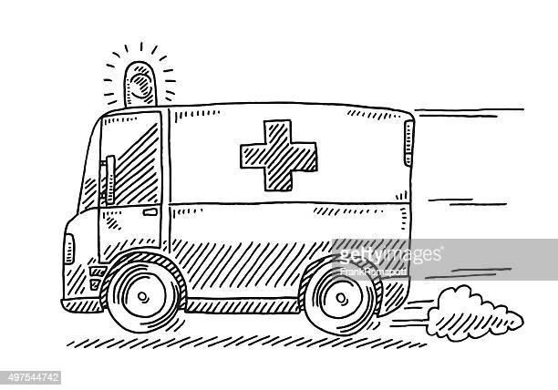 fast driving ambulance drawing - ambulance stock illustrations