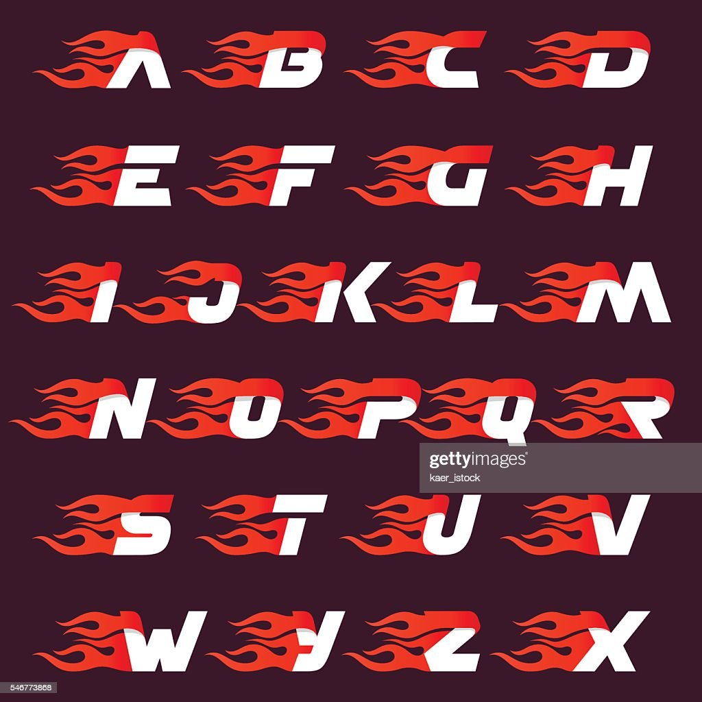 Fast fire alphabet letters icon on dark.