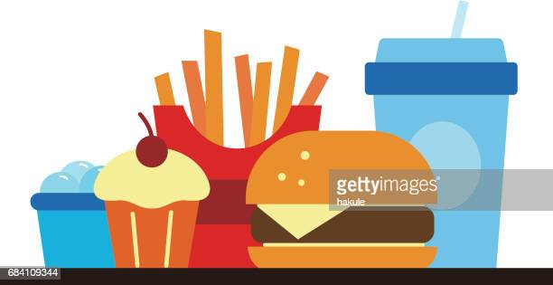 fast food and drink for lunch or dinner, vector illustration - french fries stock illustrations, clip art, cartoons, & icons