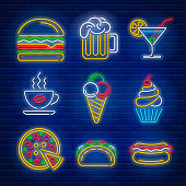 Fast food and drink neon signs