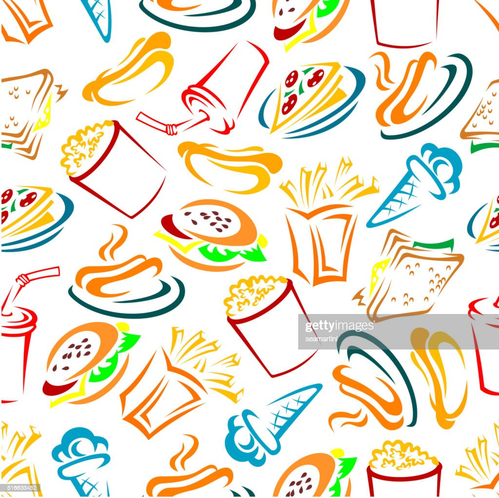 Fast food and drinks seamles pattern