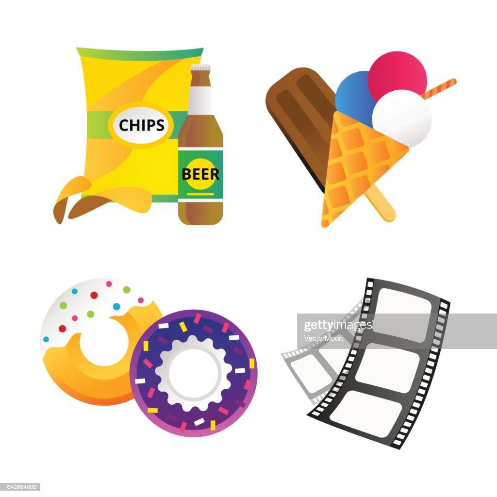 Fast food and film cinema technology vector illustration